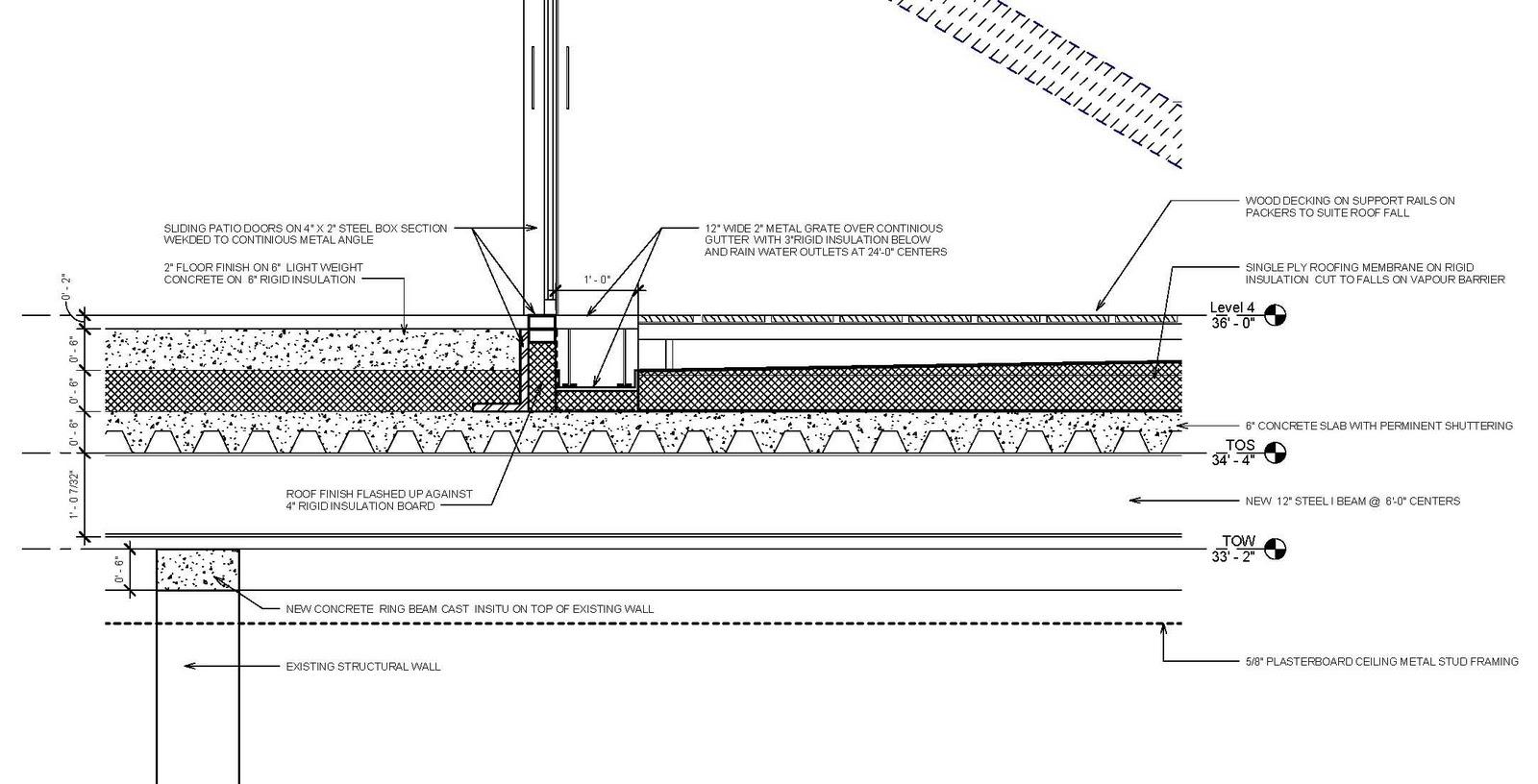 Hard Floor Flooring Details : Revit detail sun shade roof patio inner gutter