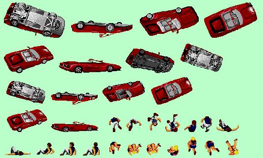 Ferrari Testarossa cabrio Outrun spritesheet
