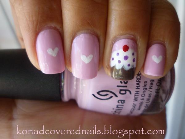 konad covered nails cupcake theme