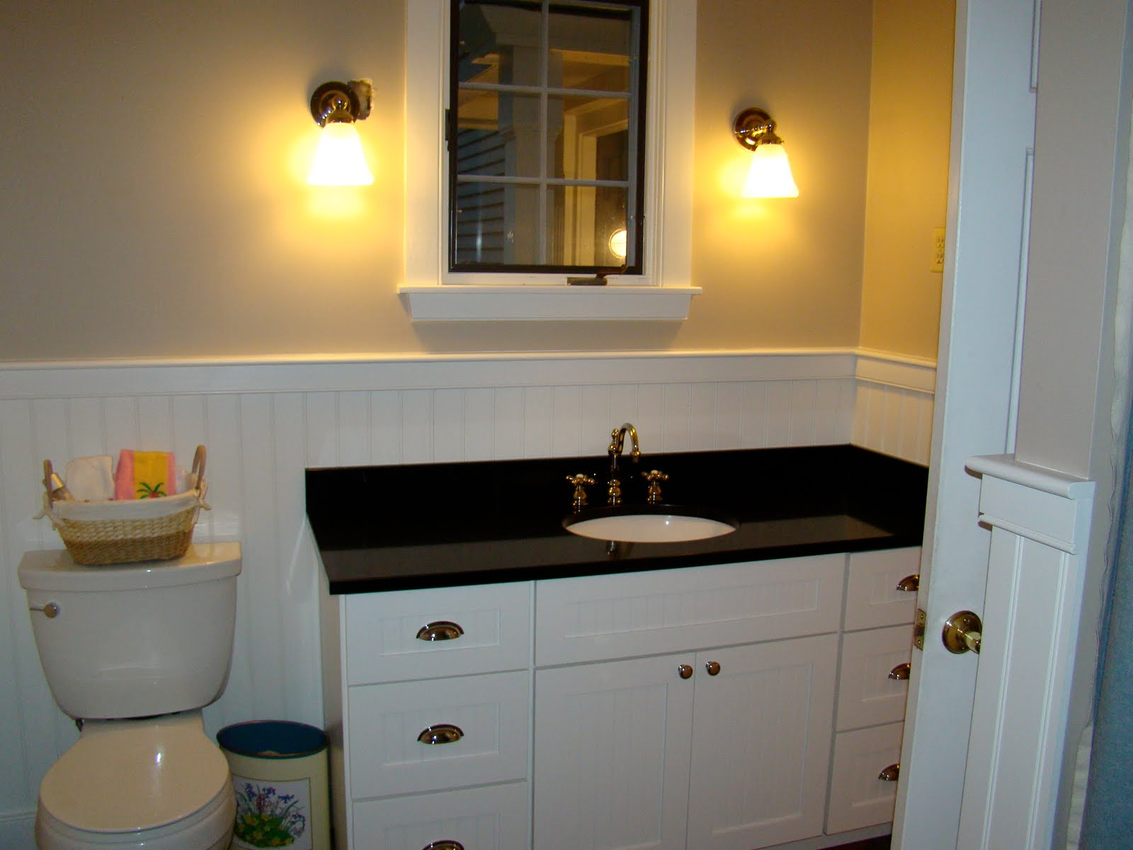 View from my heels laundry half bath makeover for Bathroom ideas with black toilet