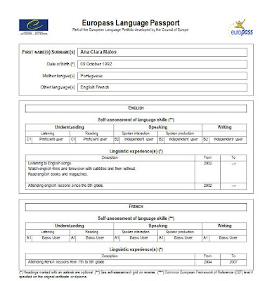 my english eportfolio europass language passport