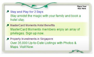 Yahoo Singapore new ad format on homepage close up version