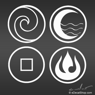 Air Nomads  Water Tribe  Earth Kingdom  and Fire Nation decalsAvatar The Last Airbender Water Symbols