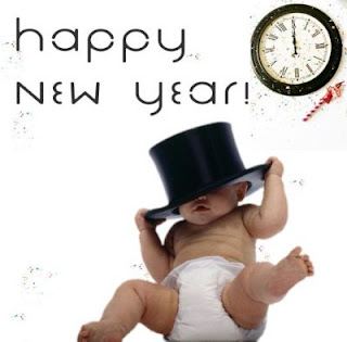 baby new year celebration card