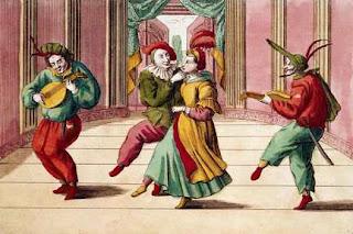 Bibliophilie - Evariste Gherardi. Le théâtre italien et la commedia dell'arte en 1694... dans Bibliophilie, imprimés anciens, incunables 18th_century_engraving_of_commedia_dell_arte_actors_on_stage__medium
