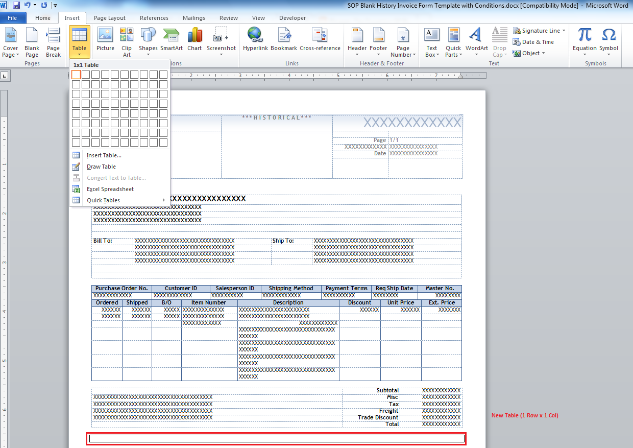 word document invoice templates