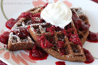 Double Chocolate Waffles with Berry Sauce