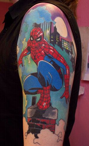spiderman action tattoo