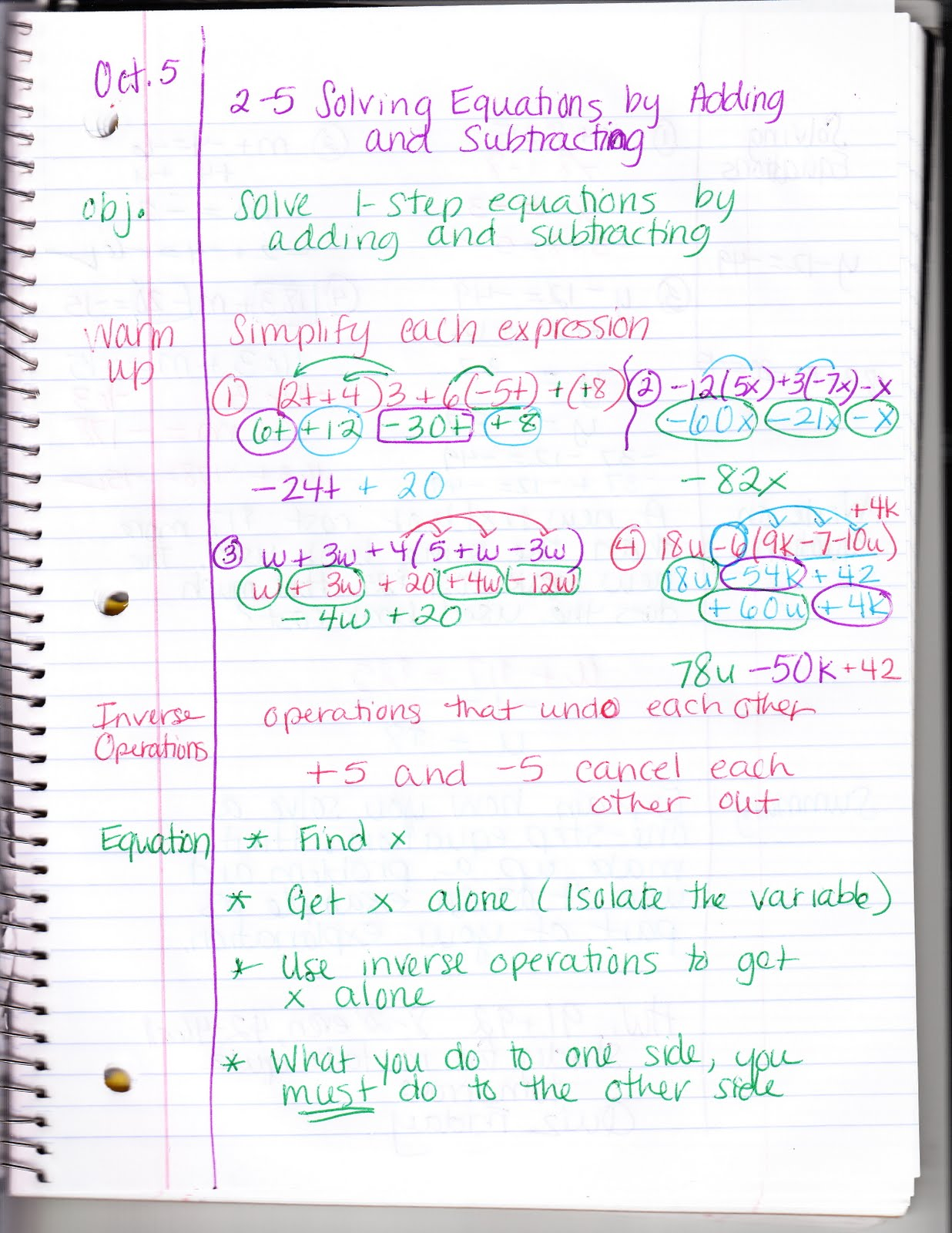 Ms. Jean's Classroom Blog: 2-5 Solving Equations by Adding or ...