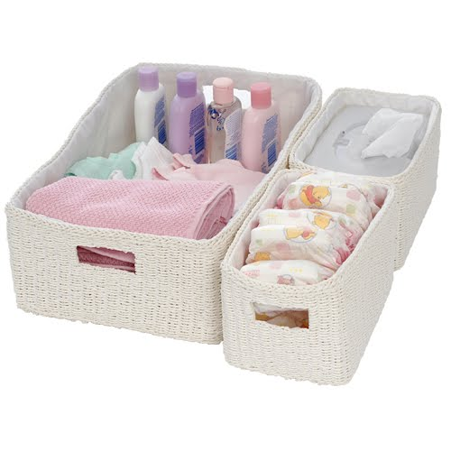 Ava Twisted Rope Basket Set Are A Practical Storage Solution For Your Change  Table.