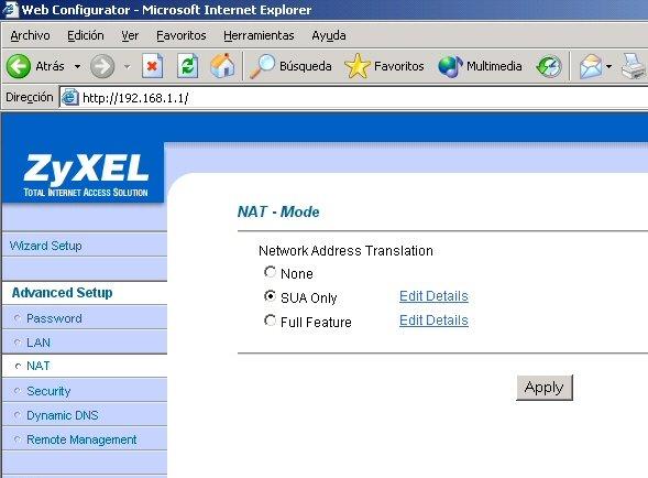 Configuración NAT del Zyxel