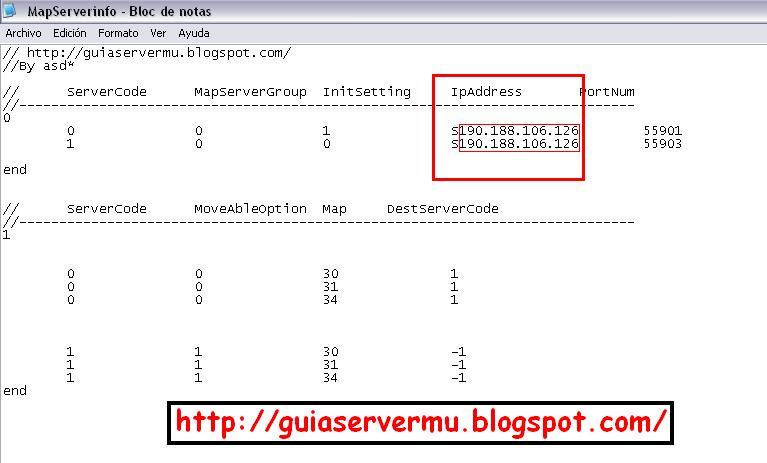 Configuración del mapserverinfo con la ip pública