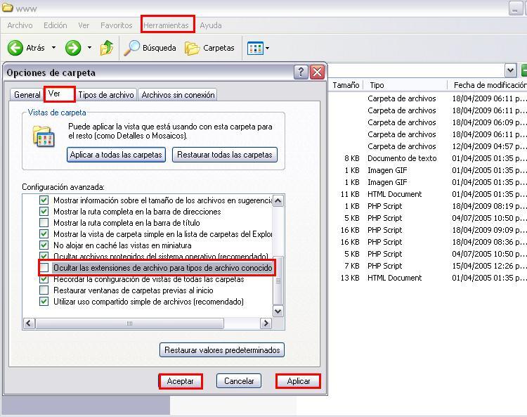 Configurando visibilidad de las extensiones