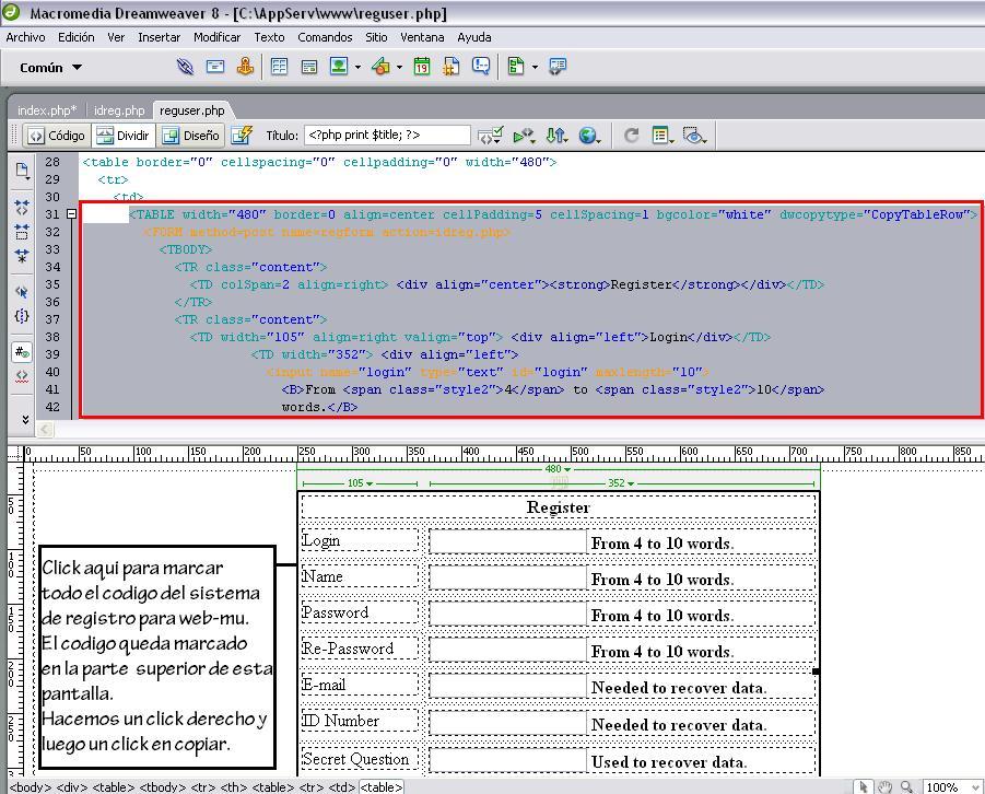 Agregando los códigos del registro