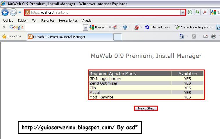 Interfaz de instalación de la webmu