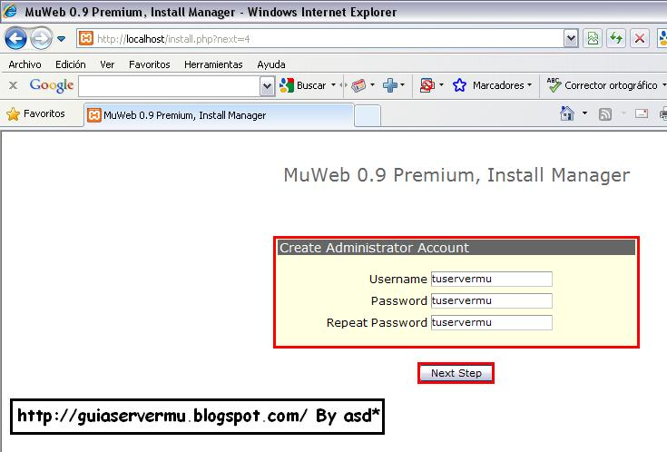 Creando usuario admin para la web