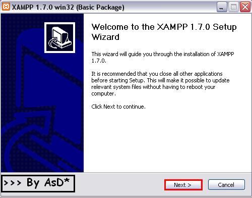Interfaz del instalador del xampp