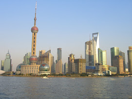 View of Pudong and the Oriental Pearl Tower looking east from The Bund