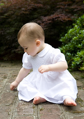 outdoor baby portrait in white dress
