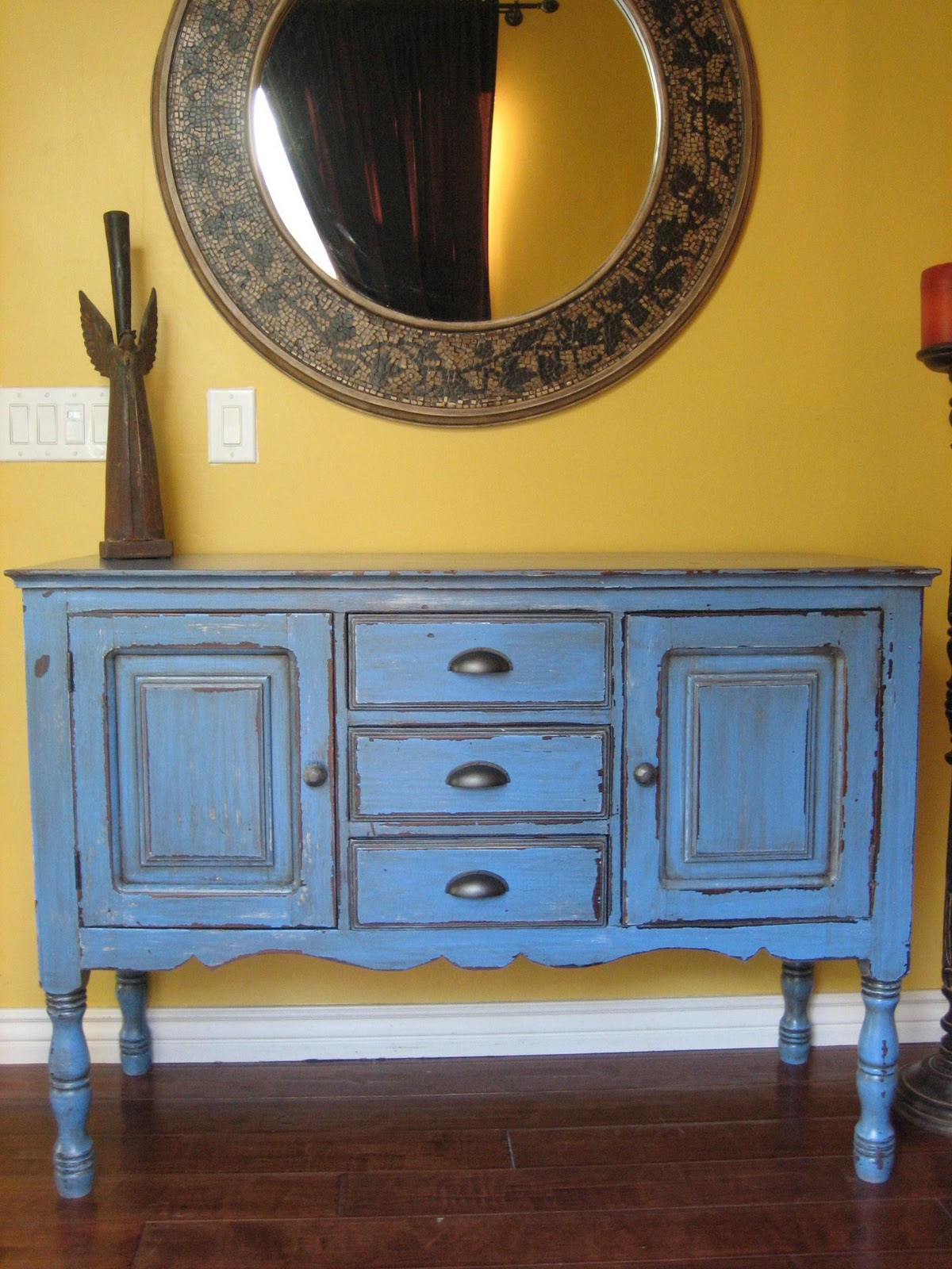 European paint finishes rustic blue buffet for Painted buffet sideboard