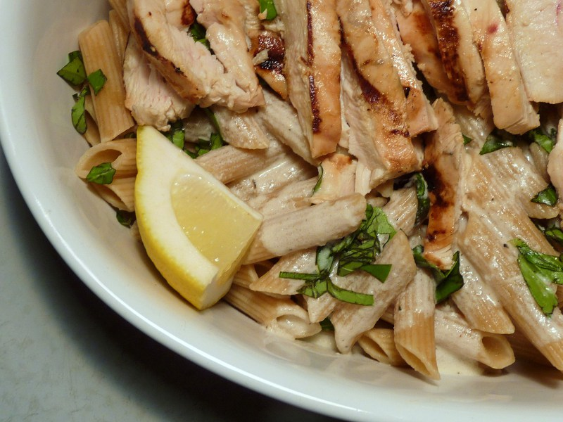 grilled chicken with lemon basil pasta