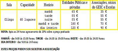 SALA OLIMPO- TABELA DE PREÇOS 2010