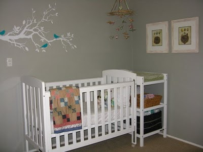 Chamomile and Peppermint - Lucy's Calm Grey Green Nursery - Bird Tree Decal