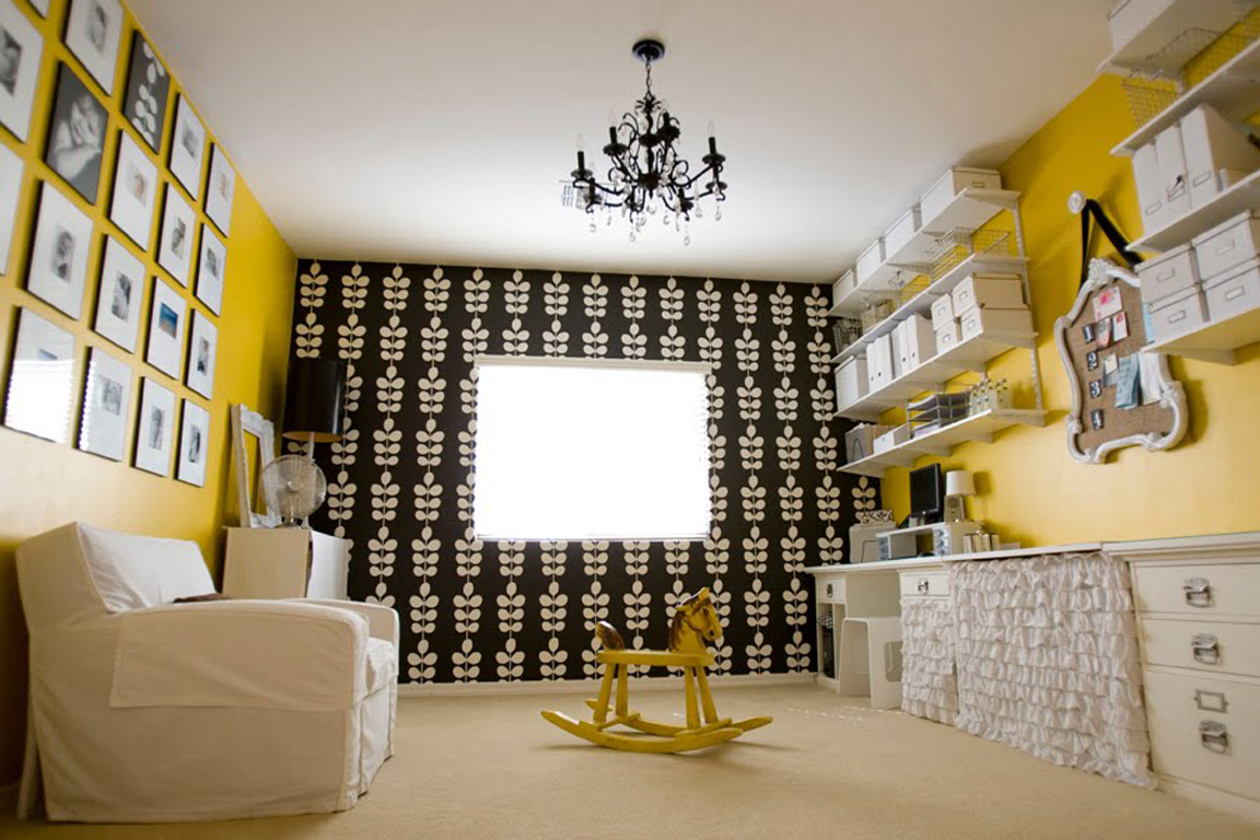 Black White Grey Yellow Room Affordable Black White And