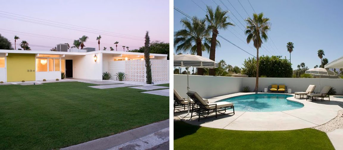 Black white yellow mid century home in palm springs for Palm springs mid century modern homes for sale