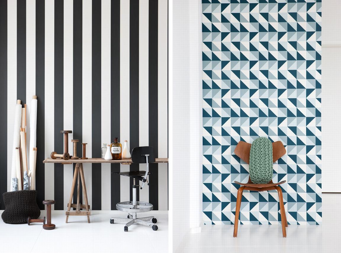 Ferm Living Wallpaper BLACK WHITE YELLOW