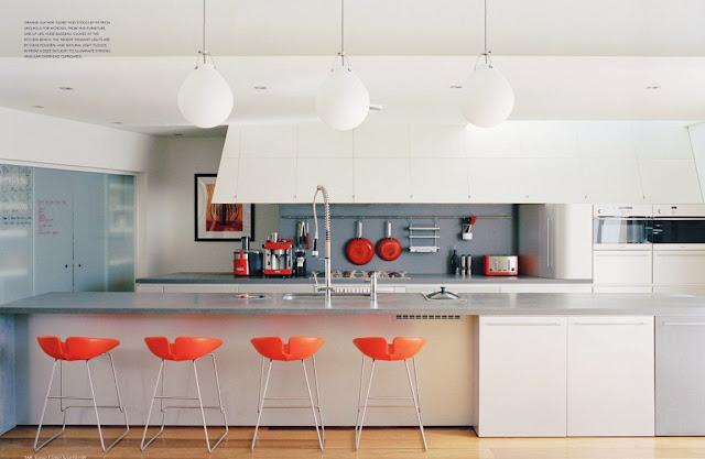 Black white yellow orange kitchen for Orange white kitchen