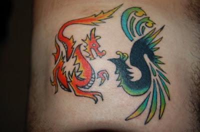 Cute Dragon and Phoenix Tattoo
