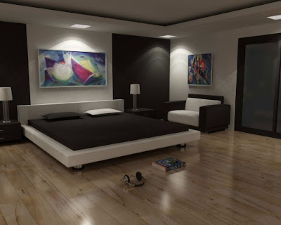 Bedroom Painting Design on Modern Bedroom Interior Design Black And White With Bed Set And Couch