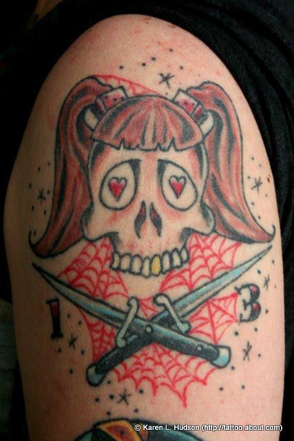 girl skulls tattoos