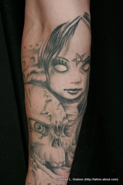 Tattoo of Evil Doll With Pentagram