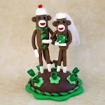 Sock Monkey Wedding Cake Toppers