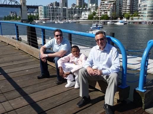 Picture of Tesfaye with Gary and Jim Granville Island