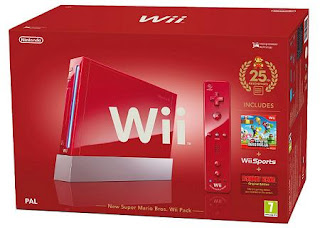 Red Nintendo Wii Console with New Super Mario Bros