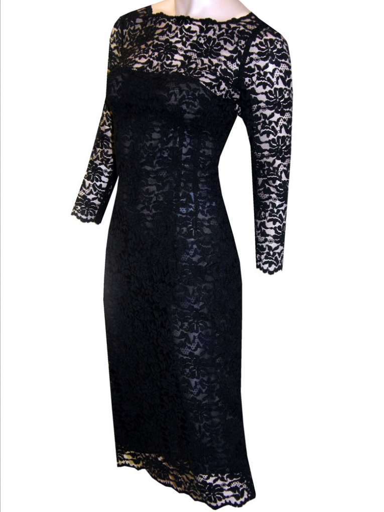 black lace dress with sleeves on Fashionista 89109  Little Black Lace Dress