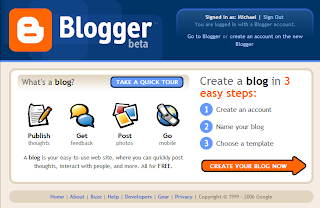 Página inicial de Blogger