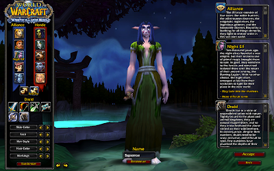 My Night Elf druid, Sapsorrow, whom I specifically created to try out role play.