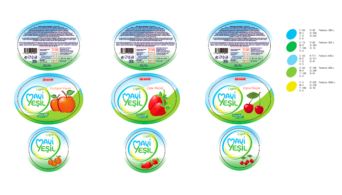 Mavi Yeşil -  Reçel kategorisi için ambalaj tasarımı