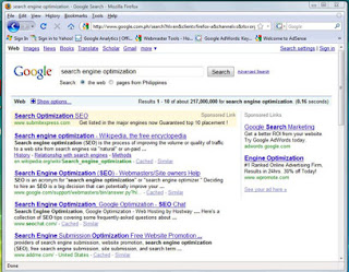 Snapshot of Google search page results included in the article Google Search Engine Basics for Readers and Writers