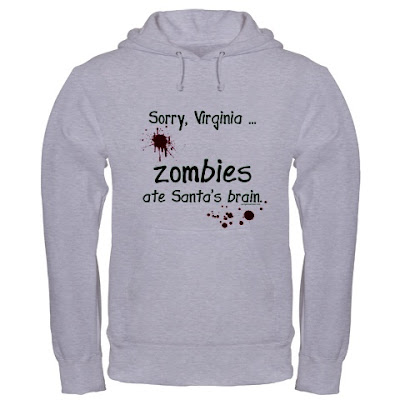 funny christmas zombie t-shirt zombies ate santa's brain