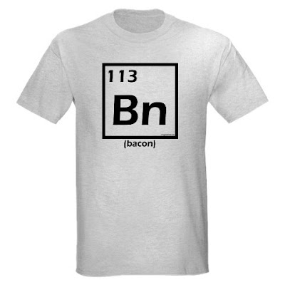 Periodic table bacon, elemental bacon, funny t-shirt gift for paleo, primal, low carb or bacon lovers from Evil Genius Tees