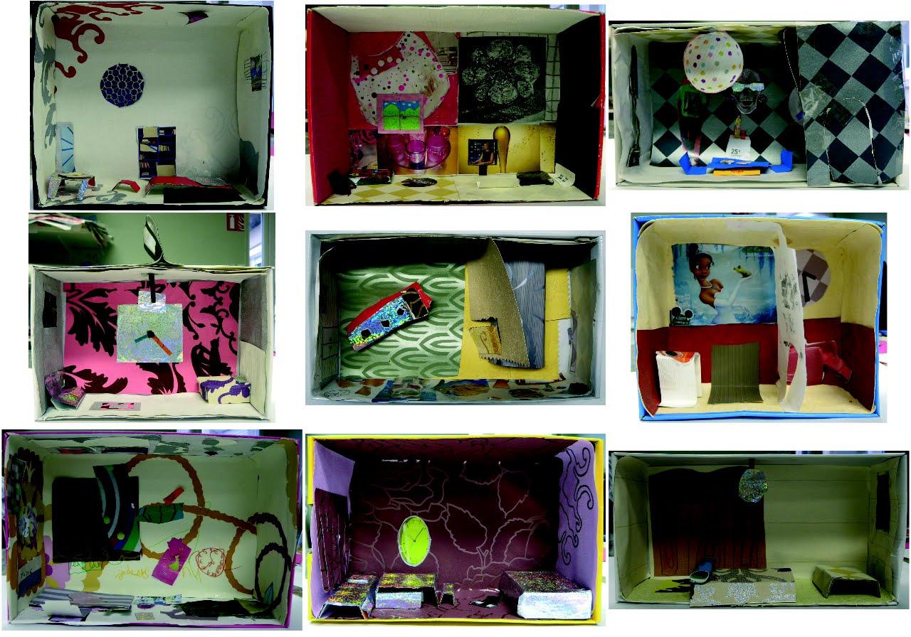 chambre en 3d travaux des enfants latelier qui ont ncessit au moins 3 sances suite un dessin en 2d pralable technique bote chaussure collage - Dessin Chambre 3d