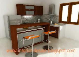 Desain Kitchen Ini Sangat Cocok Diaplikasikan Untuk Rumah Yang Kecil Dan  Sempit. Pada Desain Ini Terdapat Meja Bar Yang Bisa Diaplikasikan Sebagai  Meja ...