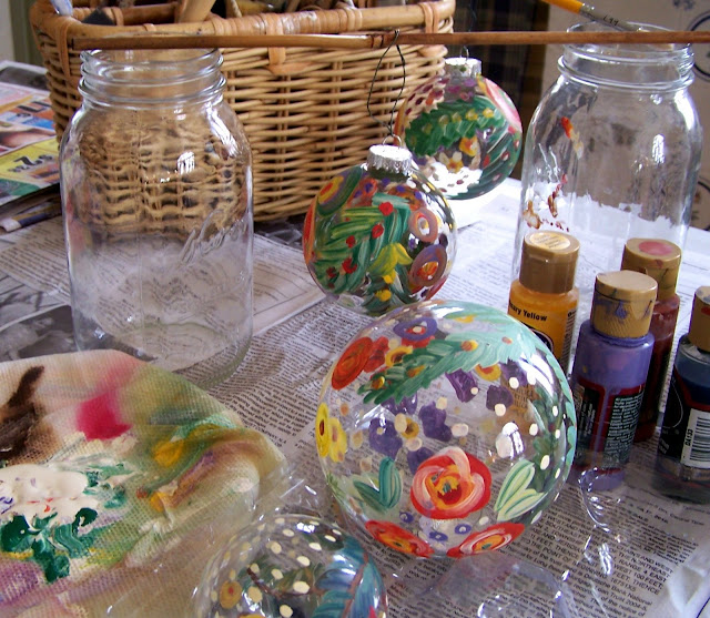 Art And Alfalfa Hand Painted Glass Christmas Ornaments