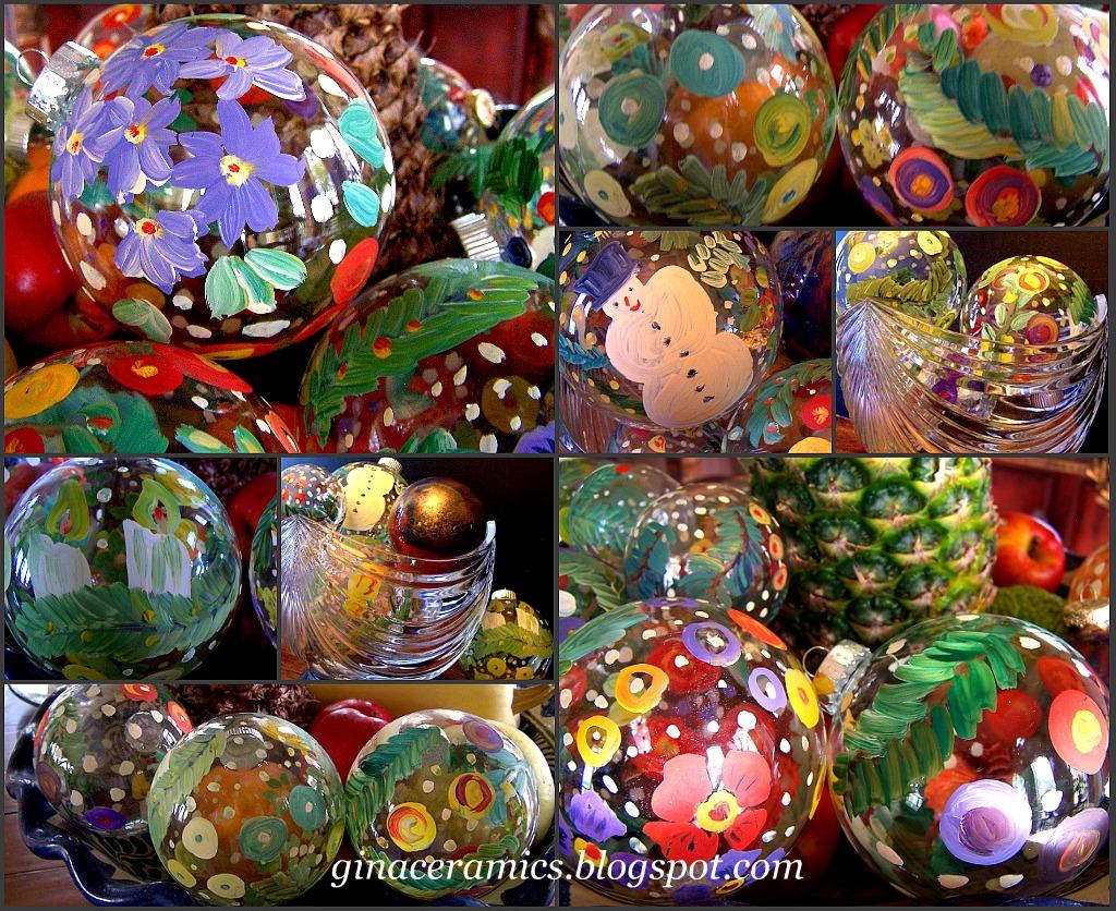 Art and alfalfa hand painted glass christmas ornaments