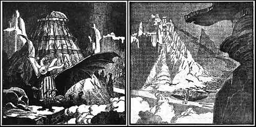 At the Mountains of Madness, illustrazione di Howard V. Brown su Astounding, 1936